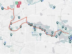 The red trail marks our bike ride between McCord Park and the J Alford Greenway.